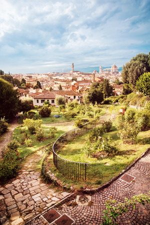 View from Giardino delle Rose to the city of Florence. Tuscany, Italy. Beautiful travelling scene.