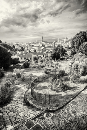 View from Giardino delle Rose to the city of Florence. Tuscany, Italy. Beautiful travelling scene. Black and white photo.