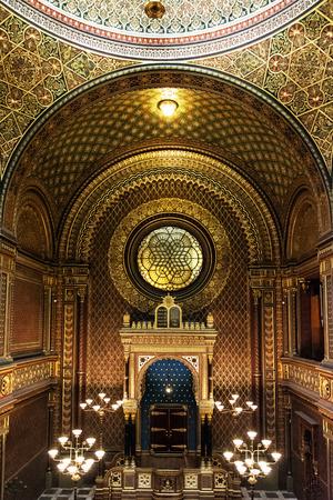 Interior of Spanish synagogue in Prague, Czech Republic. Religious architecture. Editorial