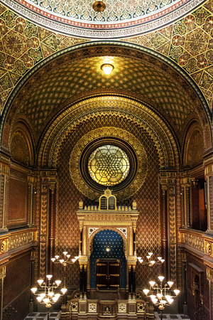 jewry: Interior of Spanish synagogue in Prague, Czech Republic. Religious architecture. Editorial