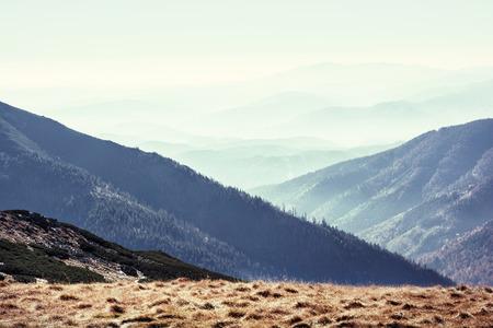 Low Tatras mountains, Slovak republic. Travel destination. Natural scene. Hiking theme. Beauty in nature. Retro photo filter.