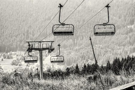 slovak republic: Cableway, Donovaly, Slovak republic. Black and white photo. Mountains scene.