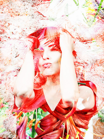 Sexy caucasian woman with red lily flowers background. Double exposure effect.