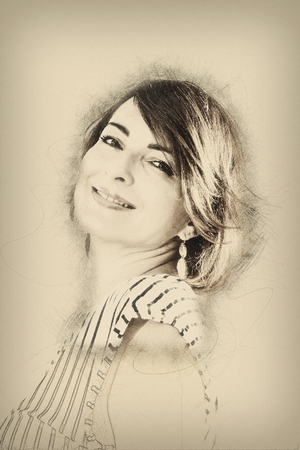 Portrait of young caucasian woman. Beauty and fashion. Pencil drawing. Art technique.