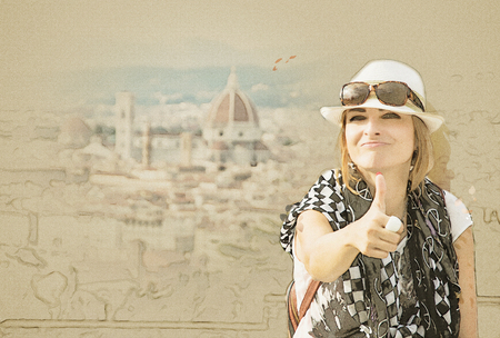 Young caucasian woman with thumb up and the Florence city is behind her, Tuscany, Italy. Travel destination. Sketch.
