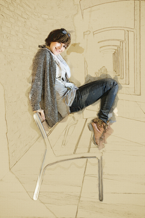 sidelight: Beautiful caucasian brunette posing on the bench. Sketch. Seductive woman. Dance moves.