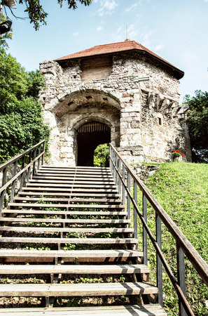 Ruin castle of Visegrad, Hungary. Ancient architecture with stairs. Travel destination. Cultural heritage. Photo filter.