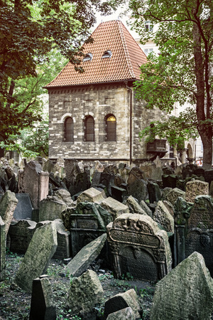 Jewish cemetery in Prague, Czech republic. Historical object. Memorial place. Many graves. Photo filter.