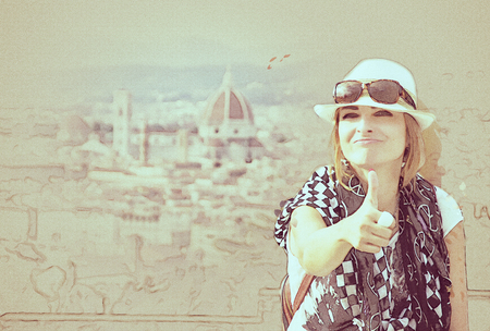 Young caucasian woman with thumb up and the Florence city is behind her, Tuscany, Italy. Travel destination. Sketch. Photo filter.