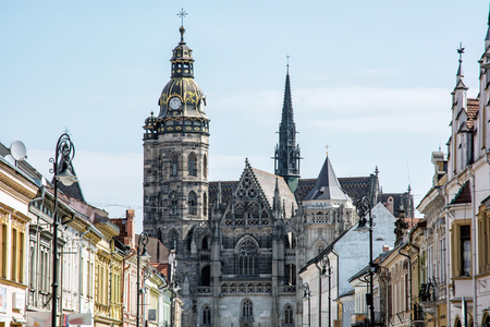 Spectacular St. Elisabeth cathedral in Kosice, Slovak republic. Architectural scene. Travel destination. Foto de archivo