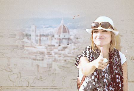 Young caucasian brunette woman with thumb up and the Florence city is behind her, Tuscany, Italy. Travel destination. Colored sketch.
