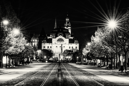 colorless: Main square with plague column, national theatre and St. Elisabeth cathedral in Kosice, Slovak republic. Night scene. Travel destination. Black and white photo.