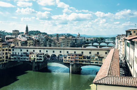 Ponte Vecchio bridge over the river Arno, Florence, Tuscany, Italy. Travel destination. Beauty photo filter. Stock Photo