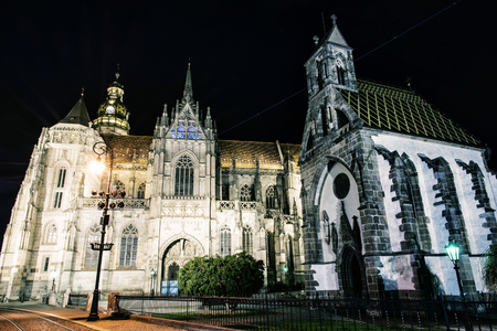 Spectacular St. Elisabeth cathedral and St. Michael chapel in Kosice, Slovak republic. Architectural scene. Night photo. Photo filter.