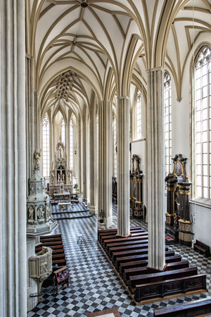 Interior of Church of St. James, Brno, Moravia, Czech republic. Religious architecture. Place of worship. Editorial