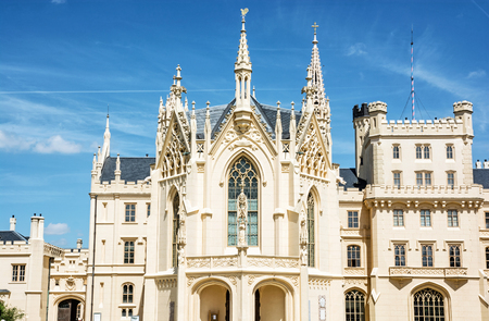 Lednice castle is a majestic, georgeous mansion in southern Moravia, Czech republic. Architectural scene. Travel destination.