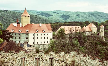 moravia: Veveri castle is an originally ducal and royal castle some 12 kilometres northwest of Brno city centre, Moravia, Czech republic, on the river Svratka. Retro photo filter.