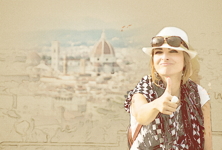 Young caucasian woman with thumb up and the Florence city is behind her, Tuscany, Italy. Travel destination. Sketch. Beauty photo filter.