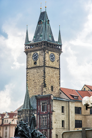 Old town hall with Jan Hus memorial in Prague, Czech republic. Architectural scene. Travel destination. Stock Photo