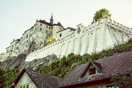 Cesky Sternberk is a Bohemian castle of the mid-13th century, located within the village with the same name of the Central Bohemian region in Czech republic. Retro photo filter.