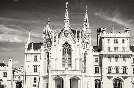 Lednice castle is a majestic, georgeous mansion in southern Moravia, Czech republic. Architectural scene. Travel destination. Black and white photo. Stock Photo