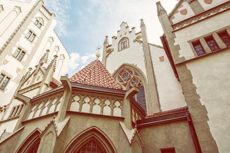 Maisel synagogue in Prague, Czech Republic. Architectural theme. Religious architecture. Travel destination. Beauty photo filter.