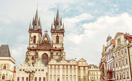 Church of Our Lady before Tyn in Old town square, Prague, Czech republic. Architectural scene. Travel destination. Yellow photo filter.