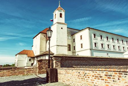 Spilberk castle in Brno, Moravia, Czech republic. Travel destination. Architectural scene. Beautiful place. Retro photo filter.