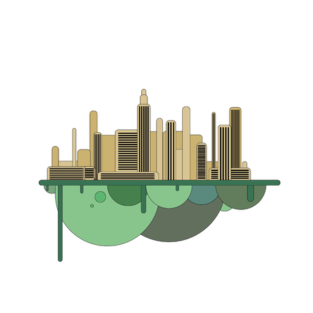 Silhouette of futuristic city with green forest in opposition on flying island. Modern town illustration. Illustration