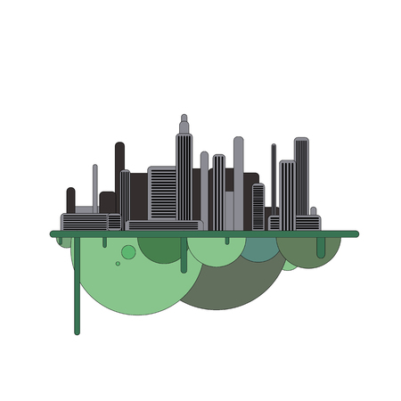 Silhouette of dark futuristic city with green forest on flying island. Modern town illustration.