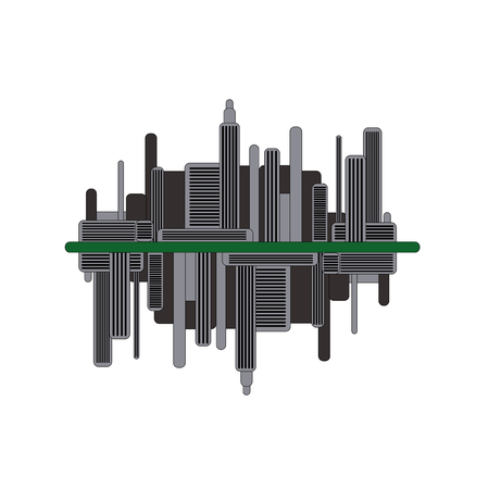 Silhouette of dark futuristic city with mirror reflection. Modern town illustration.