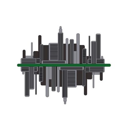 Silueta de ciudad futurista oscura con reflejo de espejo. Ilustración moderna de la ciudad.