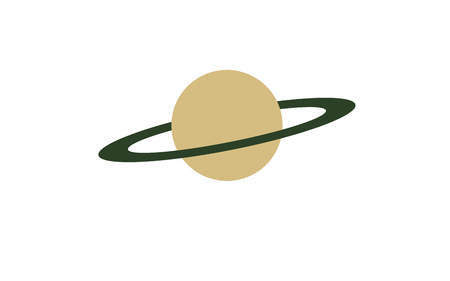 Big planet with a green ring. Space illustration.
