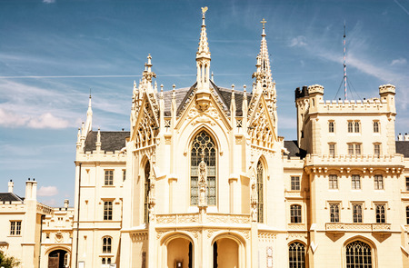 Lednice castle is a majestic, georgeous mansion in southern Moravia, Czech republic. Architectural scene. Travel destination. Yellow photo filter.