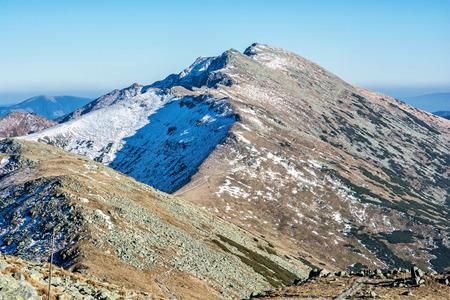 Footpath leading up the peak Dumbier, Low Tatras, Slovak republic. Hiking theme. Mountains scene.