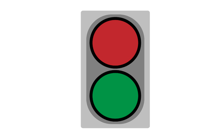 preference: Small two-color traffic light. Object illustration.