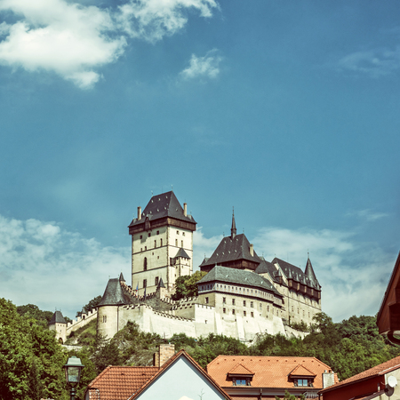 old photo: Gothic castle Karlstejn in Czech republic. Ancient architecture. Travel destination. Old photo filter. Editorial