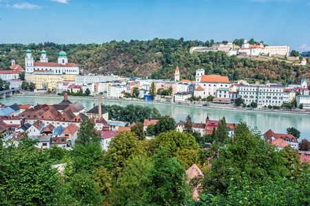 Passau city with Saint Stephens cathedral, Lower Bavaria, Germany. Travel destination. Cultural heritage. Autumn urban scene. Stock Photo