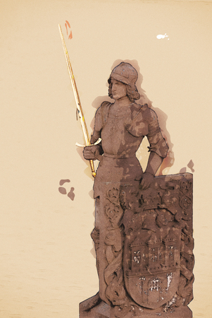 charles: Ancient statue of Bruncvik knight, Charles bridge, Prague. Pencil drawing. Architectural scene.