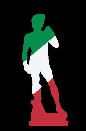 미켈란젤로 Buonarroti, 피렌체에서에서 데이비드 동상의 실루엣. 그리기 개체. 이탈리아 국기의 색상입니다.