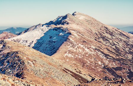 Footpath leading up the peak Dumbier, Low Tatras, Slovak republic. Hiking theme. Mountains scene. Red photo filter.