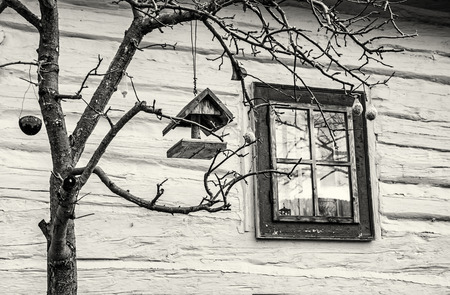 Bird house with feed on the tree in Vlkolinec village, Slovak republic. Cultural heritage. Travel destination. Black and white photo. Фото со стока