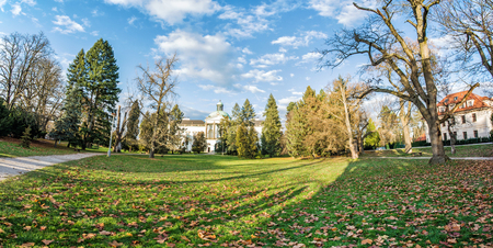Topolcianky castle with park in autumn, Slovak republic. Panoramic photo. Travel destination.