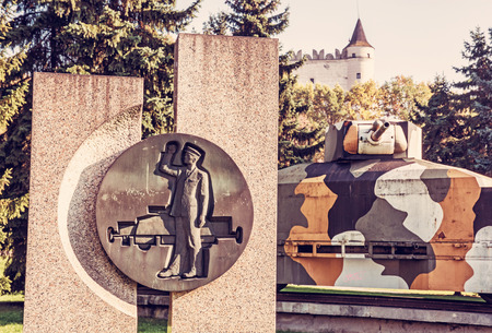Replica of armored train Hurban with sculpture located near castle in Zvolen city, Slovak republic. World War II memorial. Beauty photo filter.