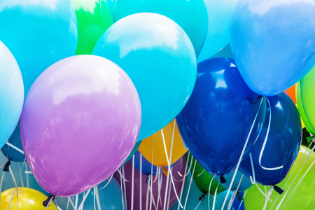 Balloons party. Funny symbolic objects. Leisure activity. Colorful balloons background. Vibrant colors. Stock fotó