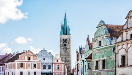 Church of the Holy Spirit and famous 16th-century houses in Telc, Czech republic. Architectural scene.