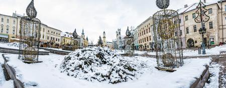 SNP square in Banska Bystrica, Slovak republic. Winter scene. Travel destination.
