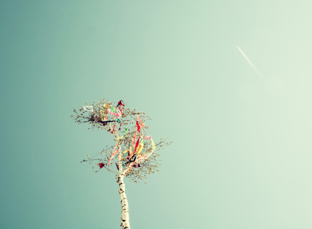Looking up at may pole and aircraft on blue sky. European traditions. Old photo filter. Stock Photo