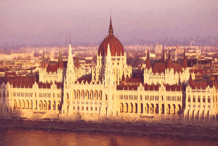 Hungarian parliament in sunset light, Budapest. Travel destination. Illustration theme. Stock Photo
