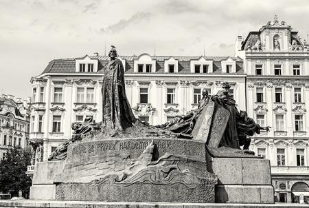 Jan Hus Memorial, Old Town Square, Prague, Czech Republic. Architectural theme. Travel destination. Black and white photo. Stock Photo